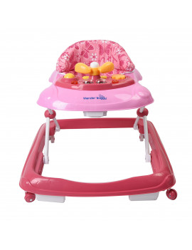 Wonder Buggy Baby walker with sounds and light - With pink butterfly cloth- pink