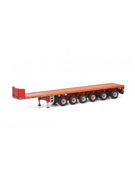 """Goldhofer"" 6 Axle Ballast Trailer Red ""WSI Premium Line"" 1/50 Diecast Model by WSI Models"