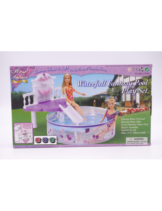 """Waterfall Fantasy Pool Play Set / Swing Pool for 11.5"""" Fashion Doll and Dollhouse Furniture"""