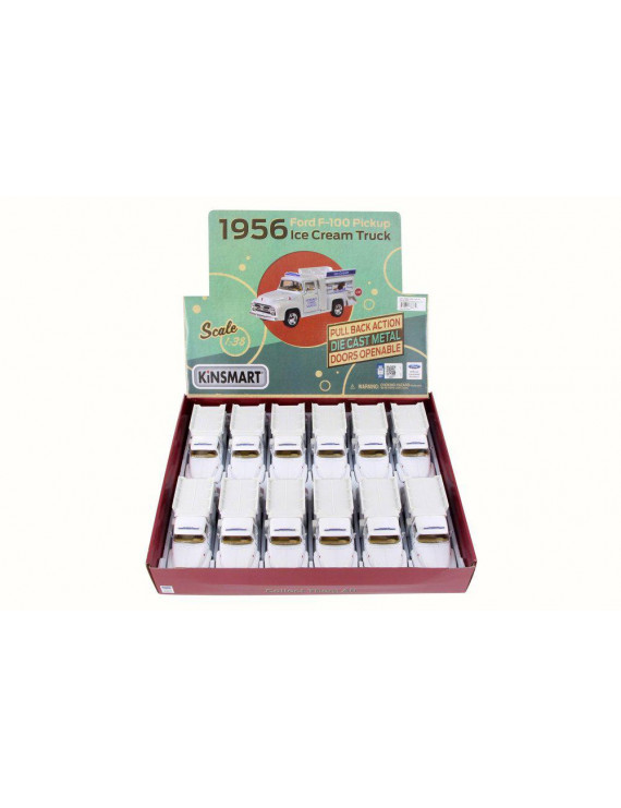 Box of 12 Diecast Model Toy Cars - 1956 Ford F-100 Pickup Ice Cream Truck