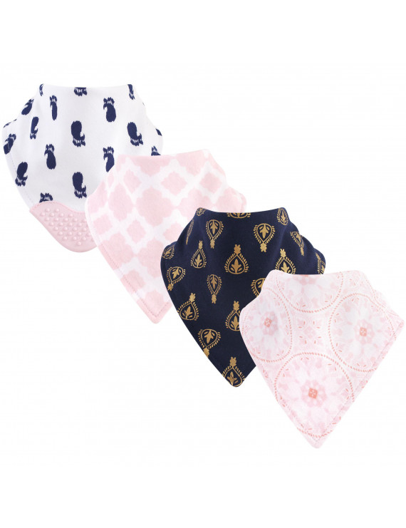 Yoga Sprout Baby Boy and Girl Bandana Bib with Teether, 4-Pack - Navy Moroccan