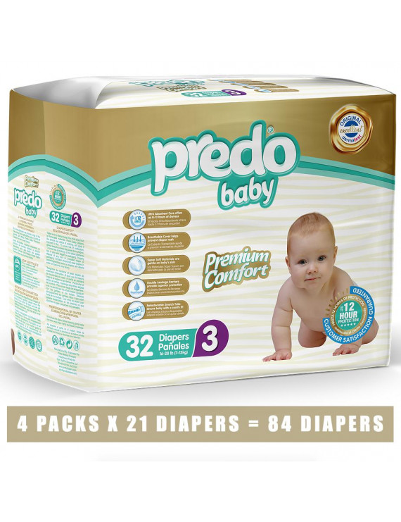 Predo Baby Diapers, Size 3, 128 Diapers