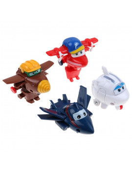 4Pcs New Mini Super Wings TV Animation Transforming Air-Planes Mini Toys Kids Gift