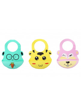 (Pack of 3) Most Hygenic Silicone Baby Bib with Cute Characters, Pink Bever + Yellow Cow + Green Carrot by Baby Classic