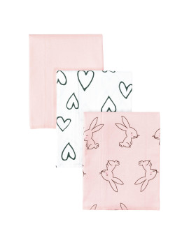 Little Star Organic 100% Pure Organic Cotton Burp Cloth, 3 Pk, Pink-Modern Blush