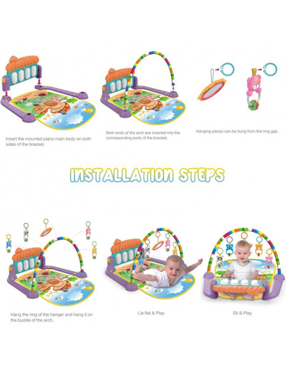 4 in 1 Fitness Music Baby Playmat Lay and Kids Gym Playmat Fun Piano Boys Girls