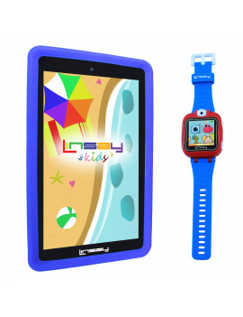 "LINSAY 7"" Kids Tablet 2 GB RAM 16 GB Android 9.0 Funny Tablet Blue Kids Smart Watch Cam Selfie - Blue"