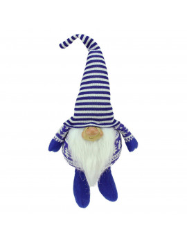 """12.5"""" Bearded Blue and White Chubby Smiling Gnome w/ Stripe Hat Plush Table Top Christmas Figure"""