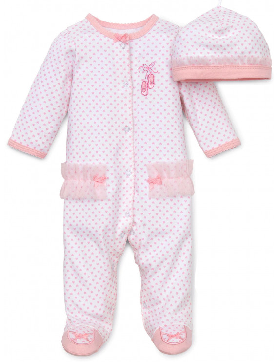 Baby Girls Newborn Ballerina Snap Front Footie Pajamas with Hat and Ballet Slipper Feet Sleep N Play One Piece Romper Coverall Cotton Infant Footed Sleeper; Pijamas Para Bebes- Pink Print - 6 Months