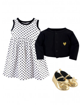 Dress, Cardigan & Shoes, 3pc Outfit Set (Baby Girls)