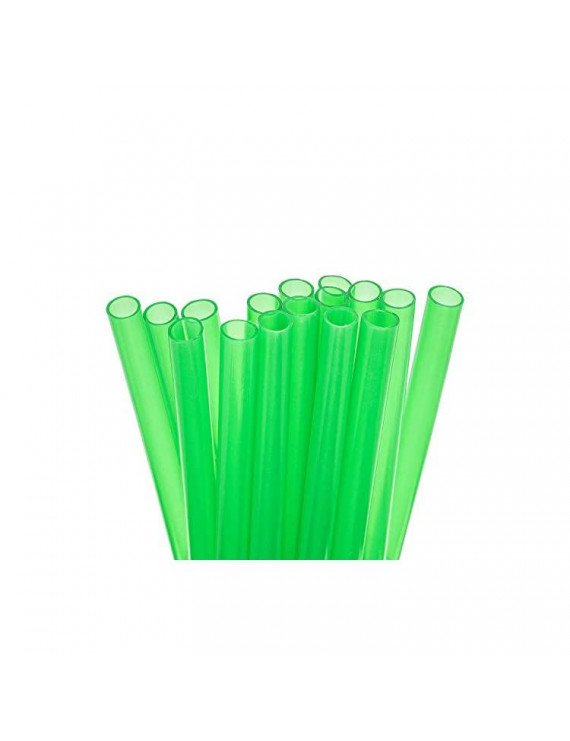 15 Reusable Plastic Short Straws for Short Cups & Small Tumblers/Thickest Smoothies + Premium Cleaning Brush - Extra Wide - Green Value Pack - BPA PFOA Free