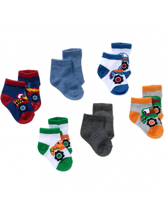 Newborn to Toddler Baby Boy Shorty Marled Truck Print Socks, 6-Pack Ages 0-5T