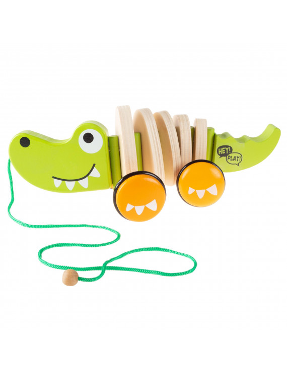 Wooden Pull Toy – Old Fashioned Rolling Walk Along Alligator with String by Hey! Play!
