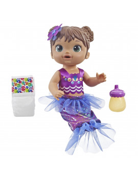 Baby Alive Shimmer n Splash Mermaid Baby Doll, Brown Hair, Ages 3+