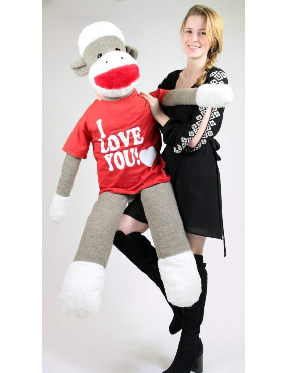 American Made Big Plush Giant Sock Monkey 54 Inch Soft Wears Removable T-shirt that says I LOVE YOU