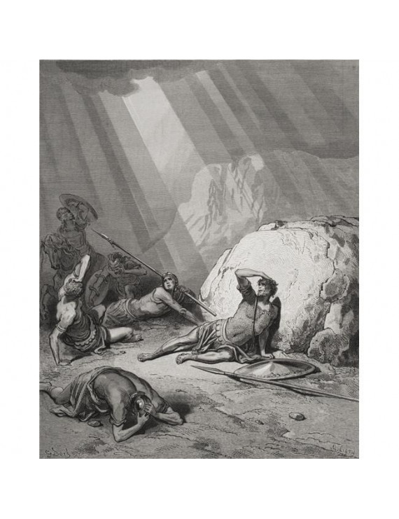 Posterazzi DPI1859775LARGE Engraving From The Dore Bible Illustrating Acts Ix 1 To 6 The Conversion of St Paul by Gustave Dore 1832-1883 French Poster Print, Large - 26 x 34