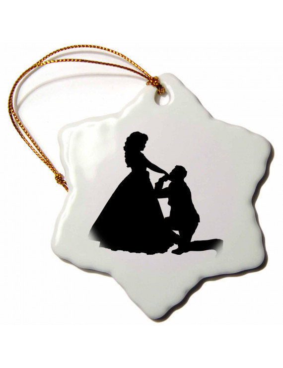 3dRose Image of Man On Knee Proposing To Lady in Black white - Snowflake Ornament, 3-inch