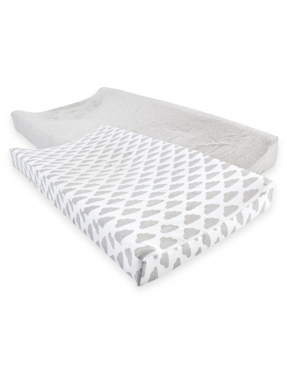 Hudson Baby Fitted Changing Pad Cover, 2-Pack - Heather Gray/Cloud