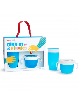 Munchkin Nibbles & Giggles Toddler Gift Set, Includes 10oz Miracle 360 Cup and Snack Catcher, Blue