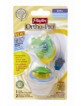 Playtex Ortho-Pro 2 Silicone Nipple Pacifiers 6m+ (Colors may vary)