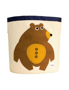 3 Sprouts Canvas Storage Bin Laundry and Toy Basket for Baby and Kids, Bear