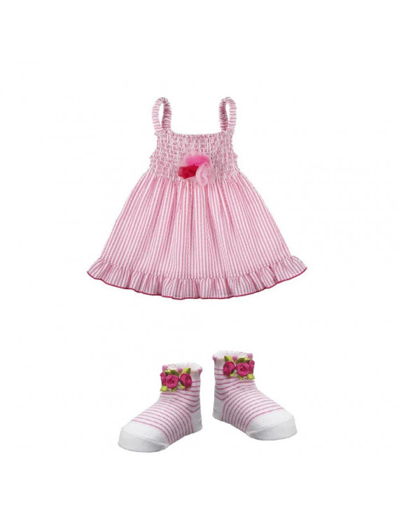 Ganz Baby Ella Jackson Pink Seersucker - Smock Rose Dress and Socks