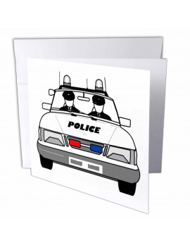 3dRose Police Car With 2 Policemen - Greeting Cards, 6 by 6-inches, set of 12