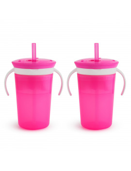 Munchkin Snack Catch and Sip, 2 Pack, Pink