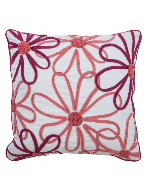 """Rizzy Home Decorative Poly Filled Throw Pillow Floral 18""""X18"""" Pink"""