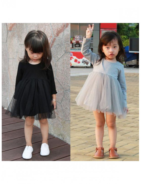Topumt Kids Baby Girls Tulle Tutu Dress Long Sleeve Dress Party Wedding Pageant Skirt
