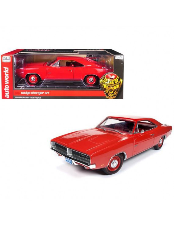 Autoworld AMM1174 1969 Dodge Charger R&T Charger Interior Class Limited Edition Car, Red - 1002 Piece