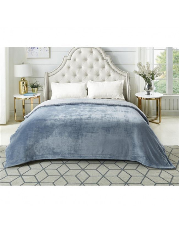 """Posh Pascal 60""""x80"""" Reversible Flannel Heathered Sherpa Blanket in Light Blue"""
