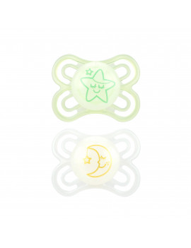 MAM Glow In The Dark Pacifiers, Baby Pacifier 0-6 Months, Best Pacifier for Breastfed Babies, Premium Comfort and Oral Care 'Perfect' Collection, Unisex, 2-Count