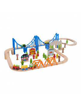 Spark. Create. Imagine. Wooden Train Play Set, 75 Pieces [Walmart Exclusive]