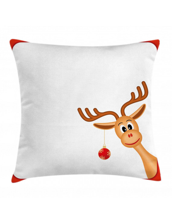 Kids Christmas Throw Pillow Cushion Cover, Reindeer in Empty Frame with Red Border Xmas Ball Hanging from Antlers, Decorative Square Accent Pillow Case, 16 X 16 Inches, Pale Caramel Red, by Ambesonne