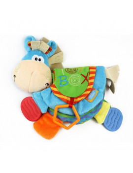 0-12 Months Baby Rattles Teether Cloth Book Toys Early Education Donkey Toys