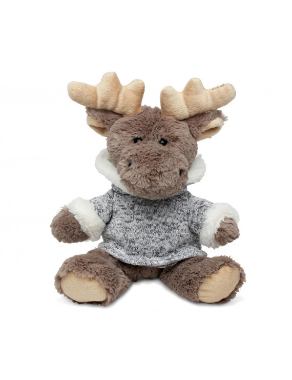 Super Soft Plush - Sitting Moose With Grey Hooded Sweater