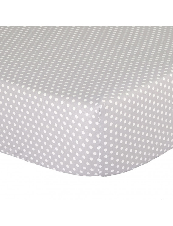 The Peanut Shell Baby Crib Fitted Sheet - White Confetti Dots on Grey - 100% Cotton Sateen, Fits Standard 52 by 28 Inch Mattress