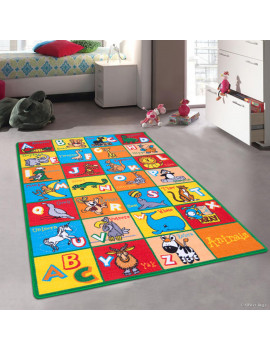 """Allstar Kids / Baby Room Area Rug. Learn ABC / Alphabet Letters with Animals Bright Colorful Vibrant Colors (4' 11"""" x 6' 11"""")"""