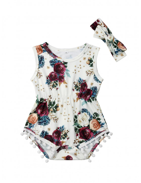 Infant Baby Girls Floral Pompom Tassels Romper Jumpsuit Outfit Summer Clothes
