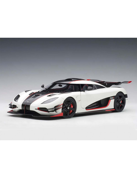 Koenigsegg One: 1 Pebble White and Carbon Black with Red Accents 1/18  Model Car by Autoart