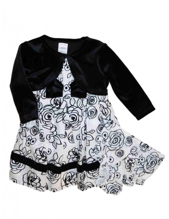 Infant Baby Girls White & Black Flower Velvety Christmas Holiday Party Dress 24M