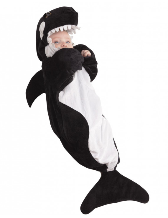 underwraps costumes baby's whale bunting, black/white, infant