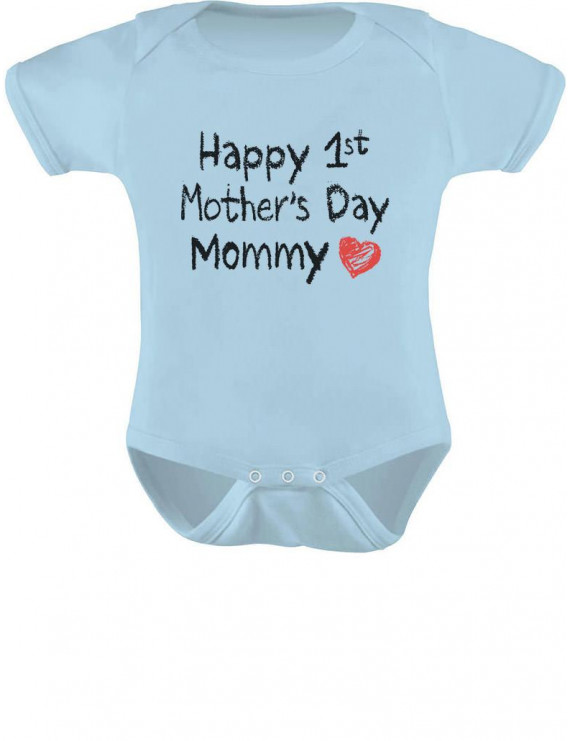 Happy First Mothers Day Mommy Body Suit Gift Idea Baby Bodysuit 6M Aqua