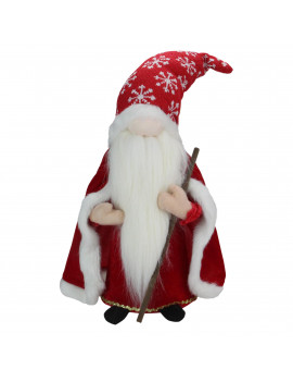 """16"""" Red and White Snowflakes Christmas Santa Gnome with Big Nose"""