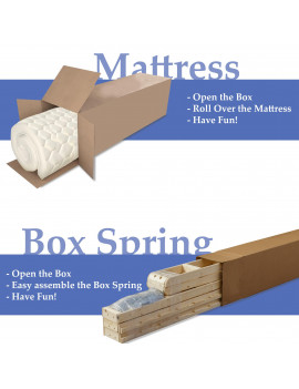 Medium Firm 5 inch High Density Poly Foam Mattress And 5-Inch Unassembled Wood Boxspring/Foundation Set,Twin Size
