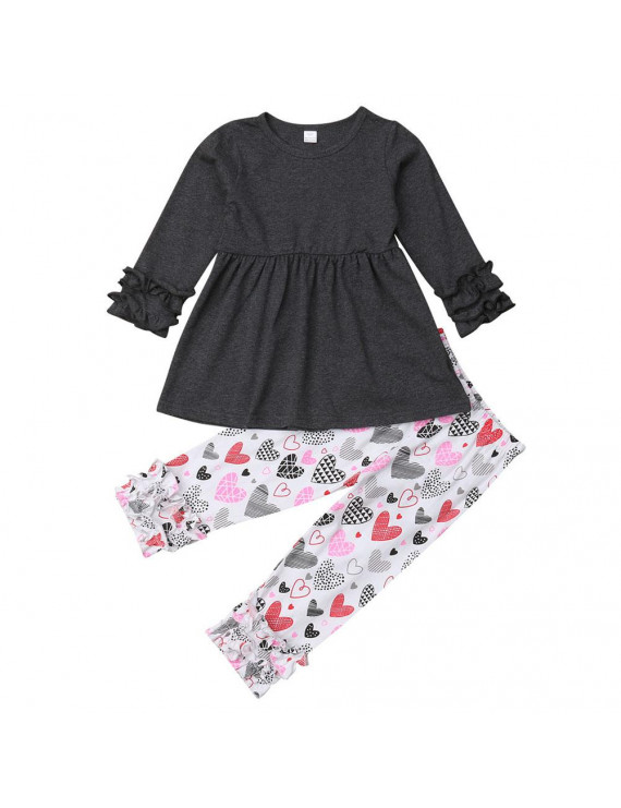Baby Kid Girls Valentine's Day Outfits Long Frilled Sleeve Tshirt with Printed Pant
