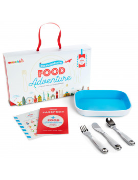 Munchkin Food Adventure Splash Toddler Dining Gift Set, Includes Plate and Stainless Steel Utensils, Blue
