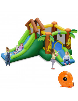 Costway Inflatable Jungle Bounce House Kids Dual Slide Jumping Castle Bouncer