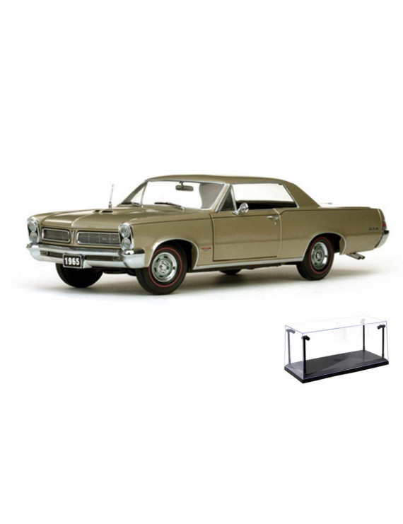 Diecast Car & LED Display Case Package - 1965 Pontiac GTO, Gold - Sun Star 1809 - 1/18 Scale Diecast Model Toy Car w/LED Display Case